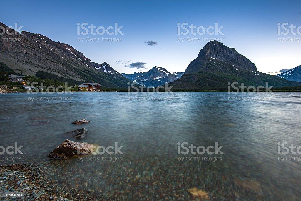 Swiftcurrent Lake stock photo