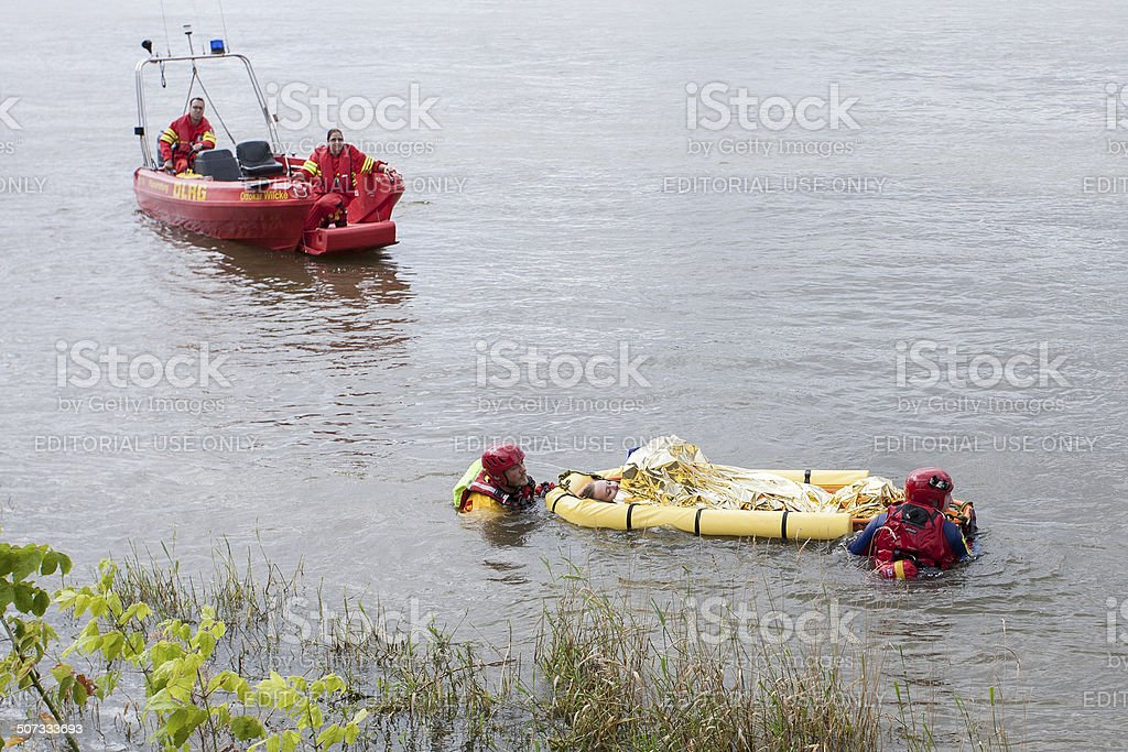 Swiftwater rescue drill / Stroemungsretter DLRG stock photo