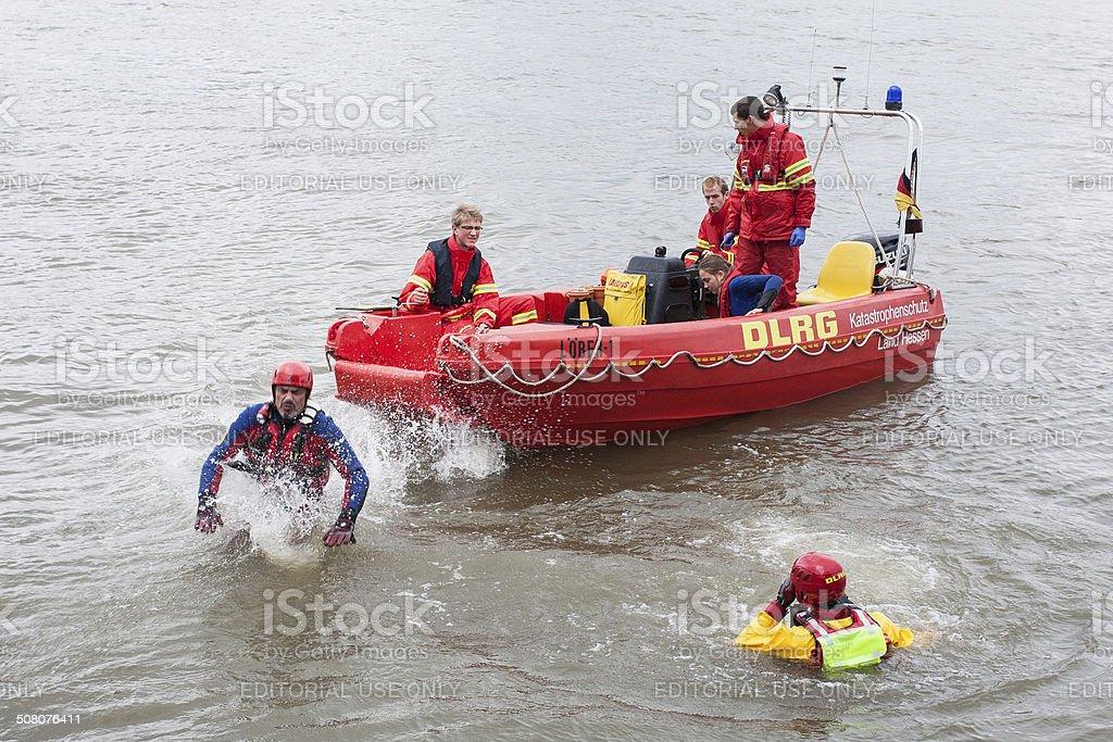 Swiftwater rescue drill - Stroemungsretteruebung DLRG stock photo