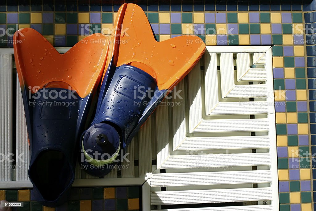 Swim Fins at the pool royalty-free stock photo