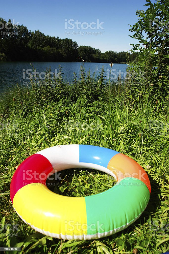 swim Ring at lake stock photo
