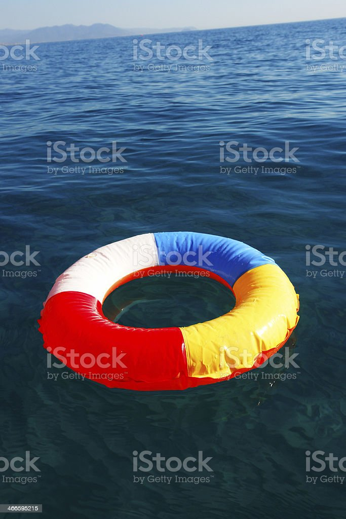 swim Ring in ocean stock photo