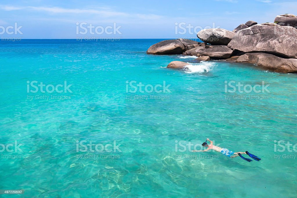 swim with mask on paradise beach stock photo