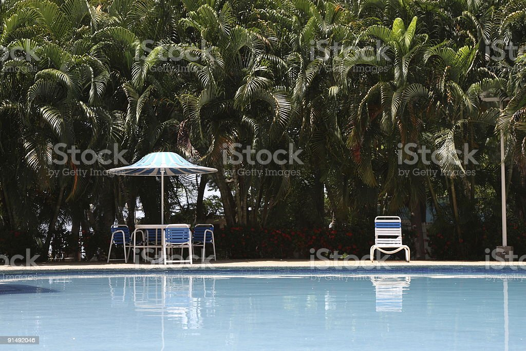 Swiming Pool in a tropical apartment complex stock photo