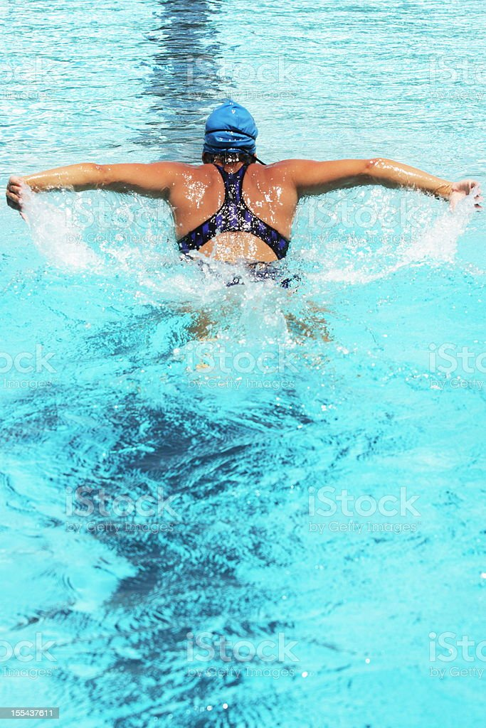 Swimmer Butterfly Stroke Sports Competition stock photo