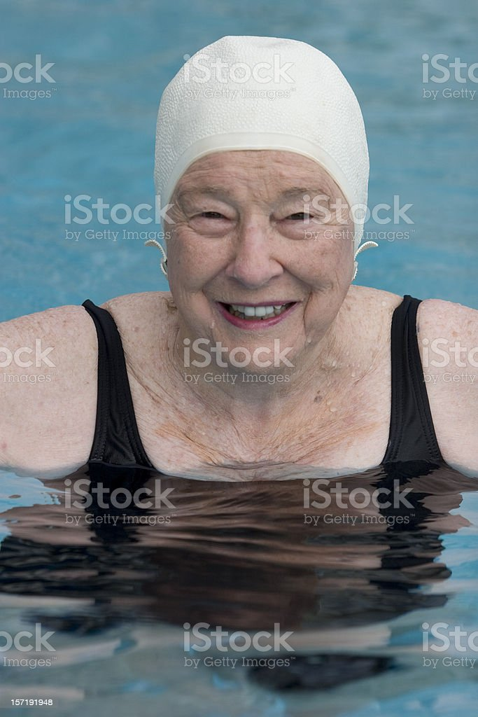 Swimmer in bathing cap stock photo