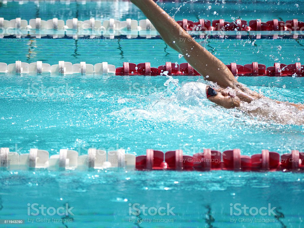 Swimmer in swimming competition 8 stock photo