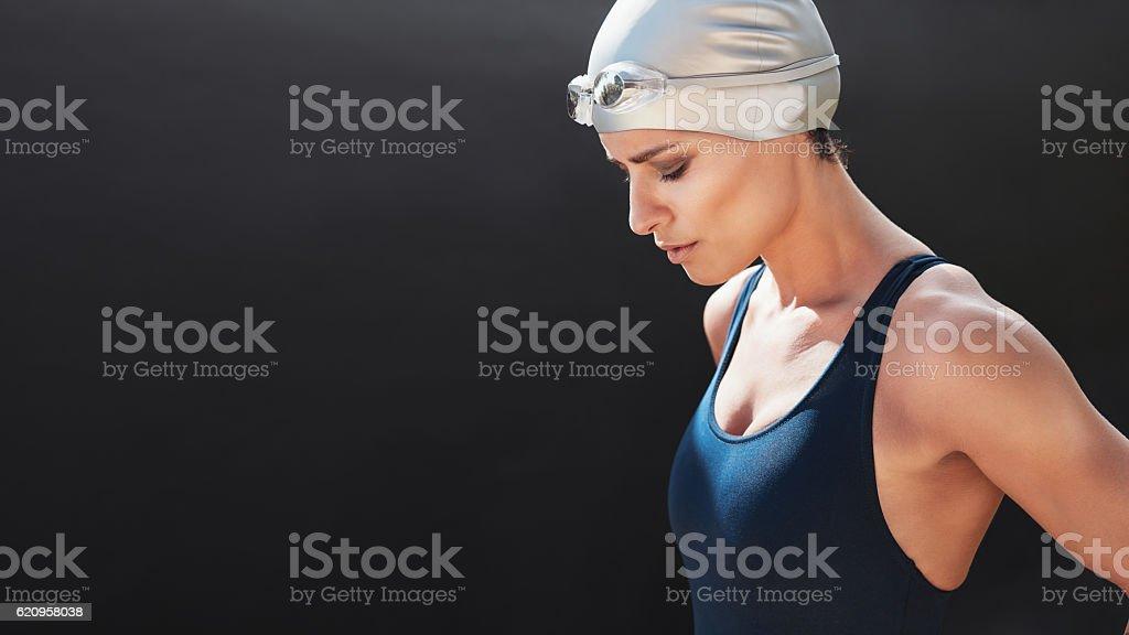 Swimmer preparing for a swim stock photo