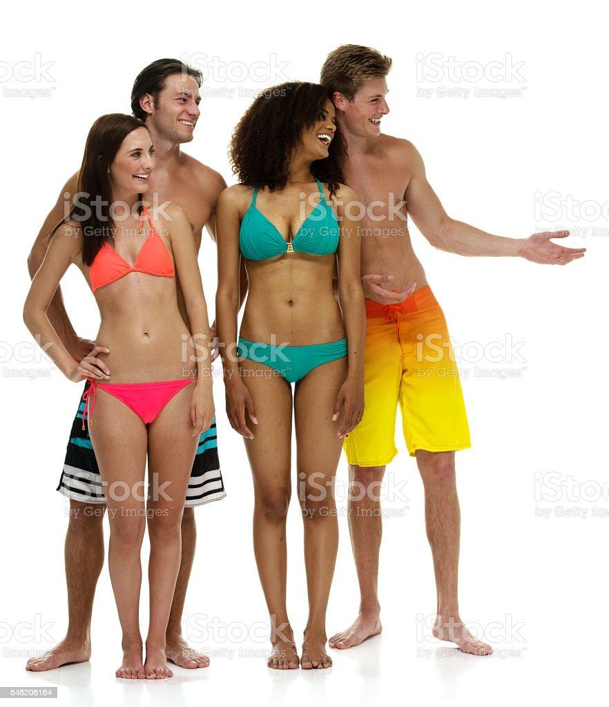 Swimmer presenting stock photo