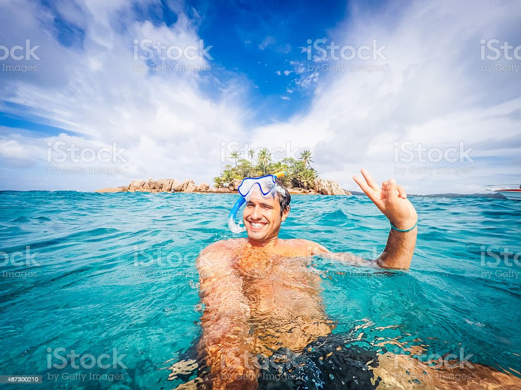 Swimmer Selfie In A Tropical Sea stock photo