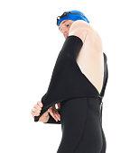 Swimmer undressing