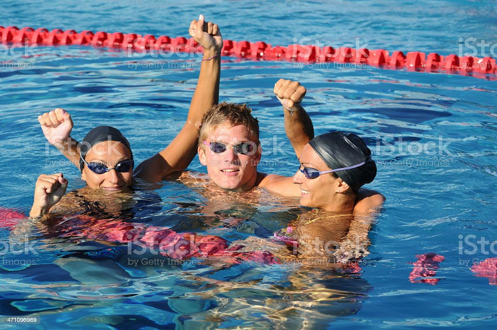Swimmers after the race royalty-free stock photo