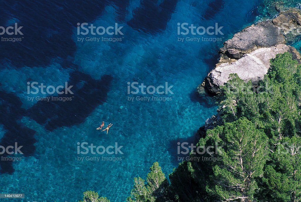 swimmers on Costiera Amalfitana royalty-free stock photo