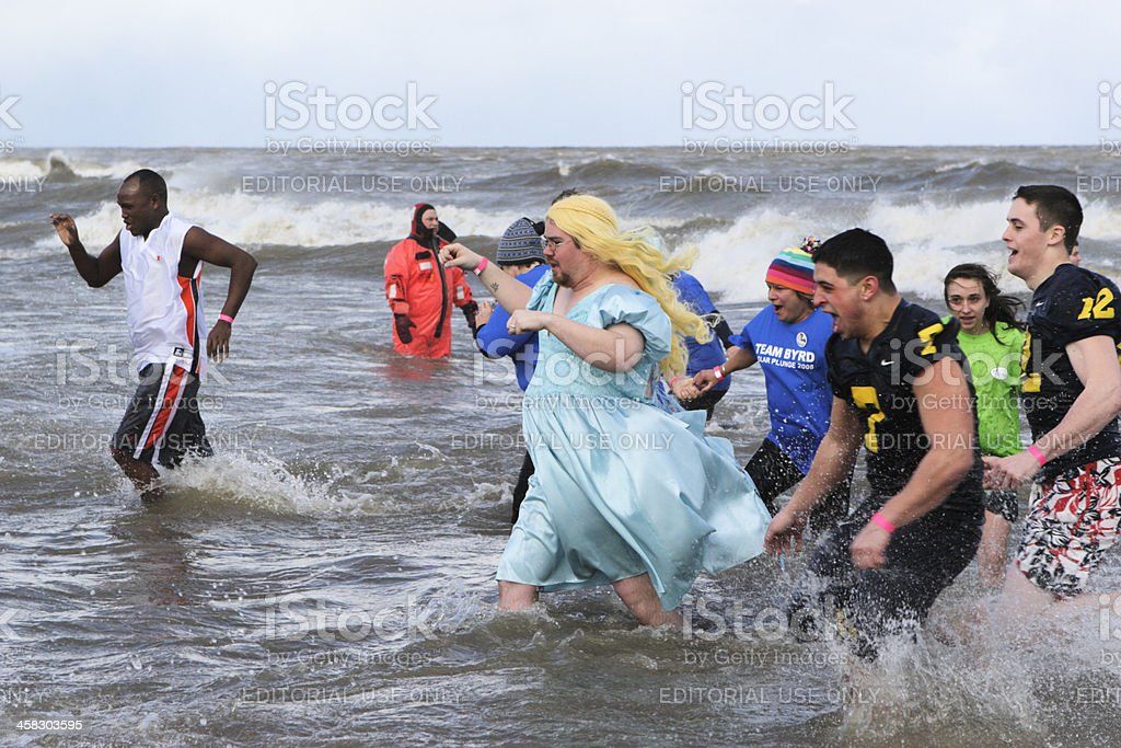 Swimmers Wading Polar Bear Plunge royalty-free stock photo
