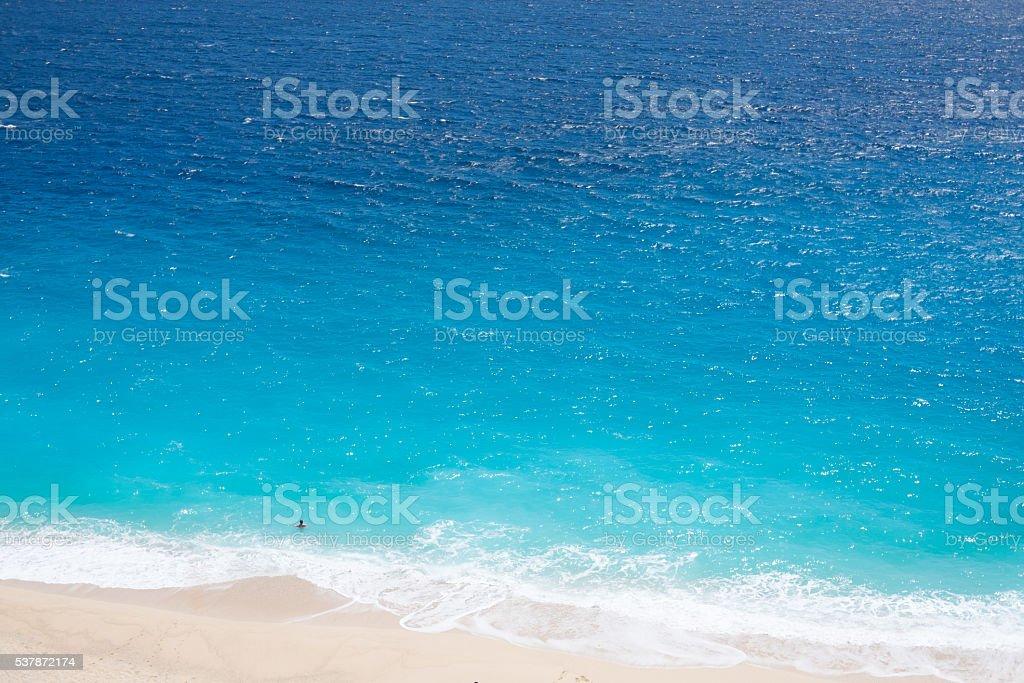 Swimming alone in the blue sea stock photo