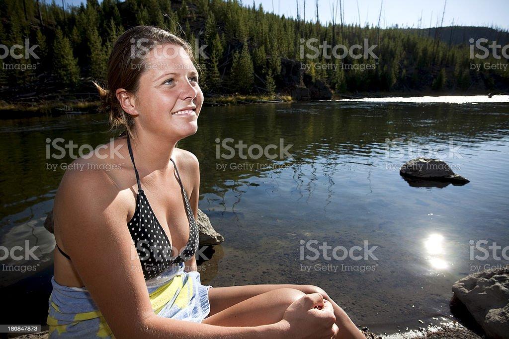 Swimming and Sunbathing. stock photo