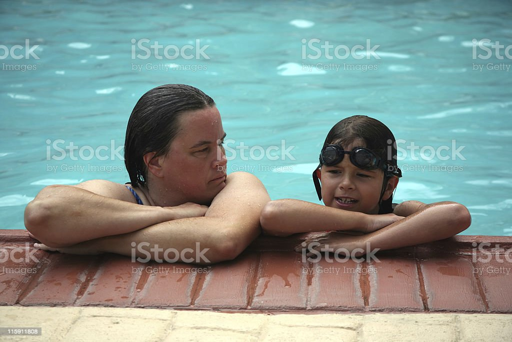Swimming family royalty-free stock photo