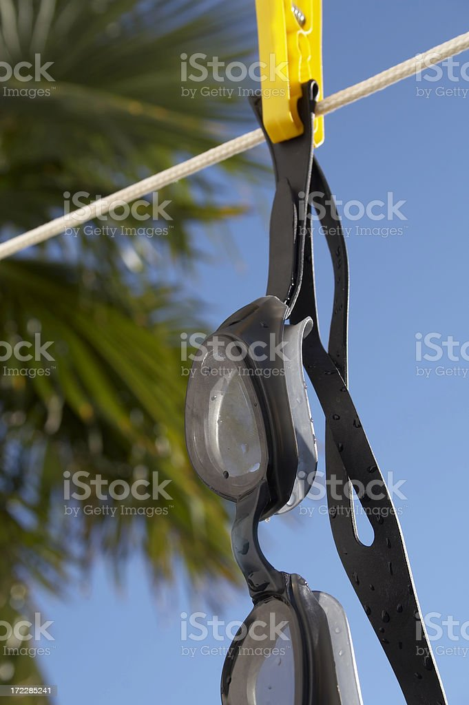 Swimming goggles drying on rope royalty-free stock photo