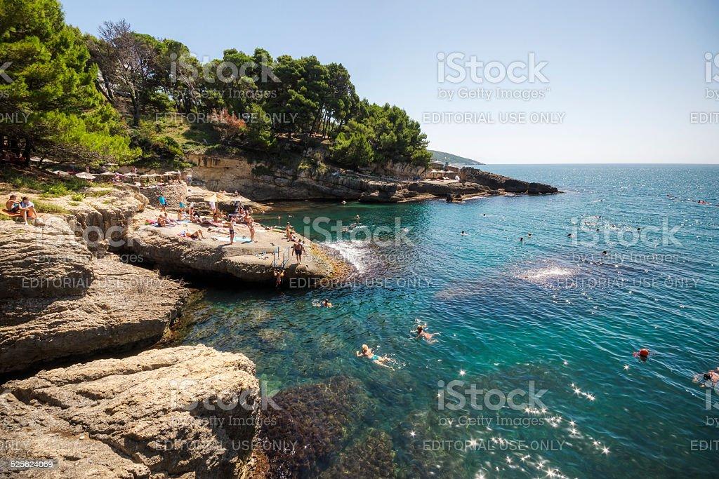 Swimming in the Adriatic Sea in Ulcinj Montenegro stock photo
