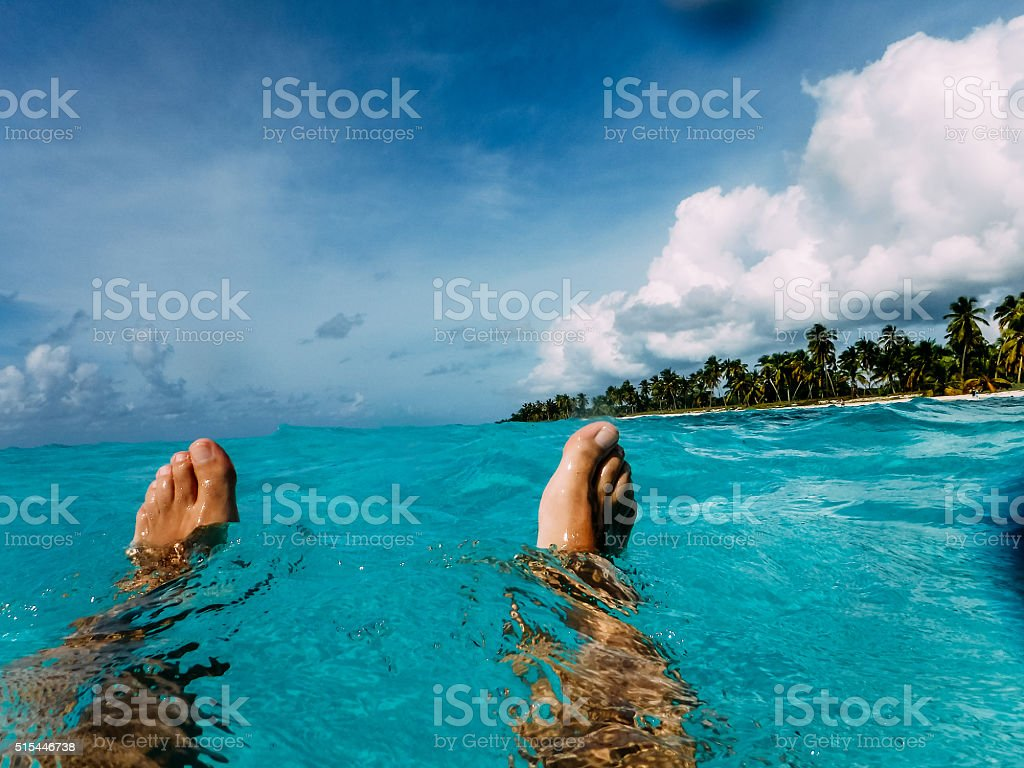Swimming in the caribbean stock photo