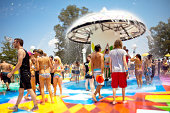 Swimming in the fountain at Bonnaroo Music Festival