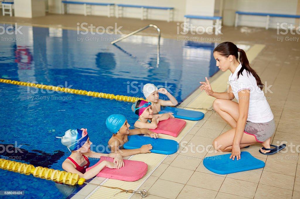 Swimming lesson stock photo