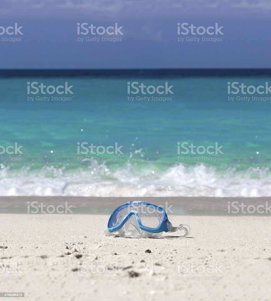 Swimming mask  on tropical beach royalty-free stock photo