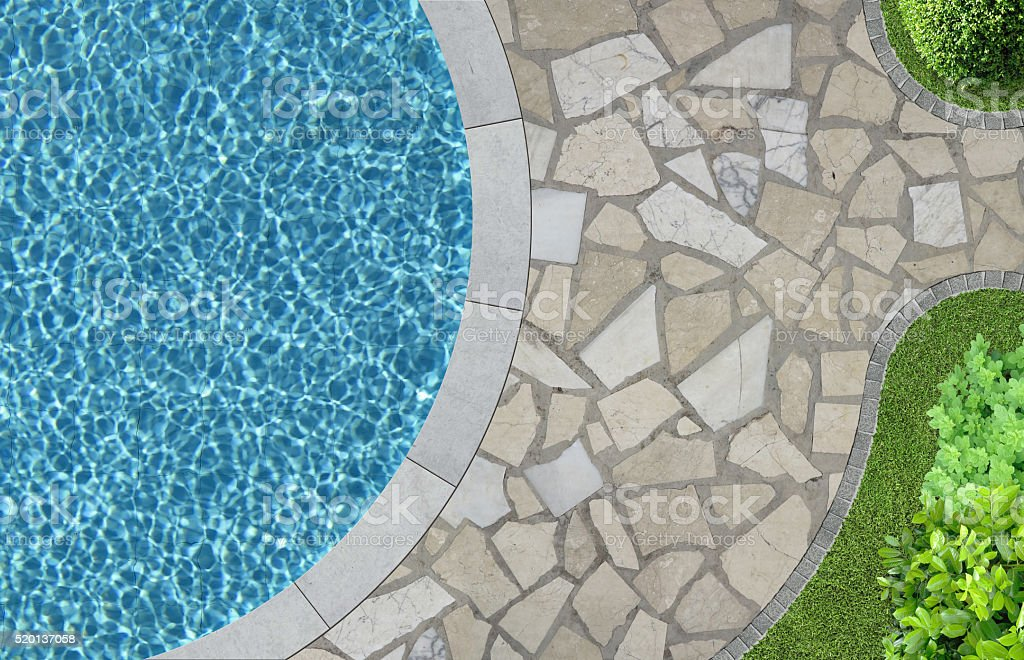 swimming pool and garden from above stock photo