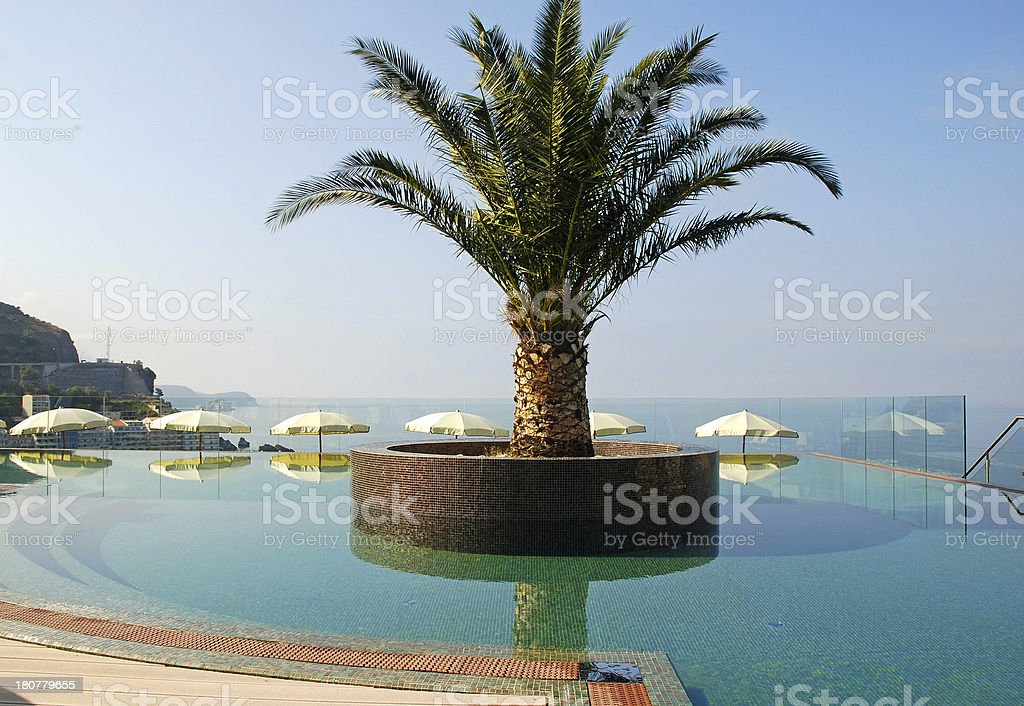 Swimming pool and Mediterranean sea view royalty-free stock photo