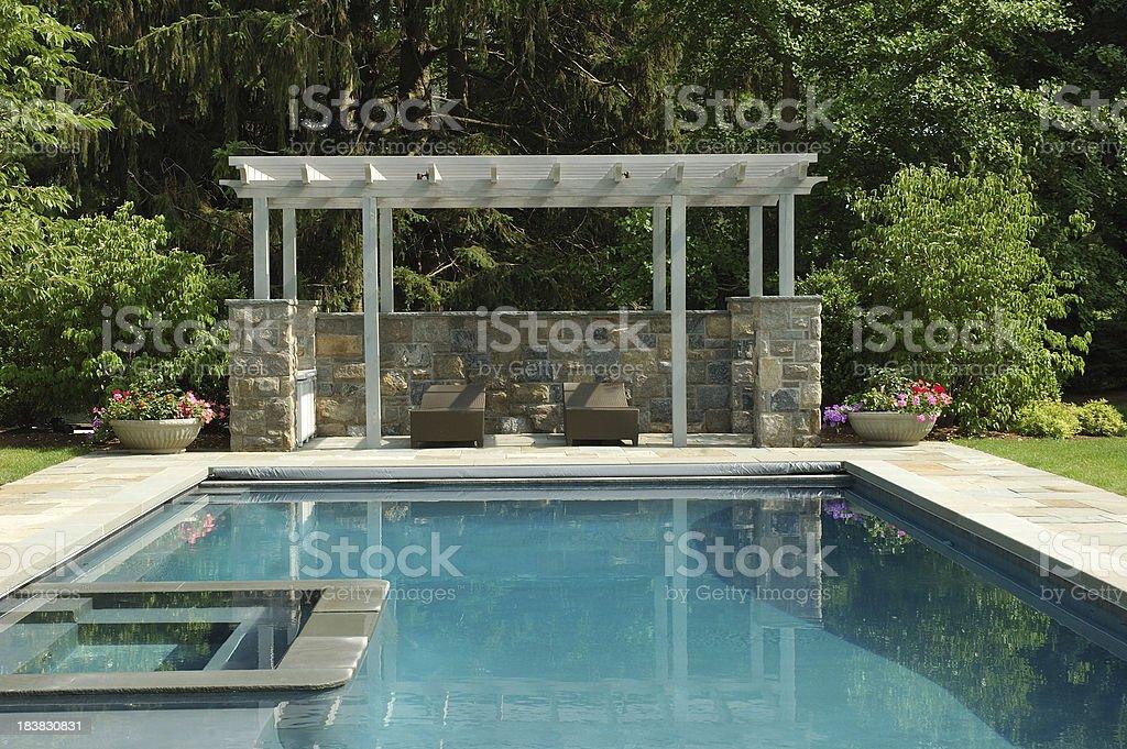 swimming Pool and Pergola stock photo