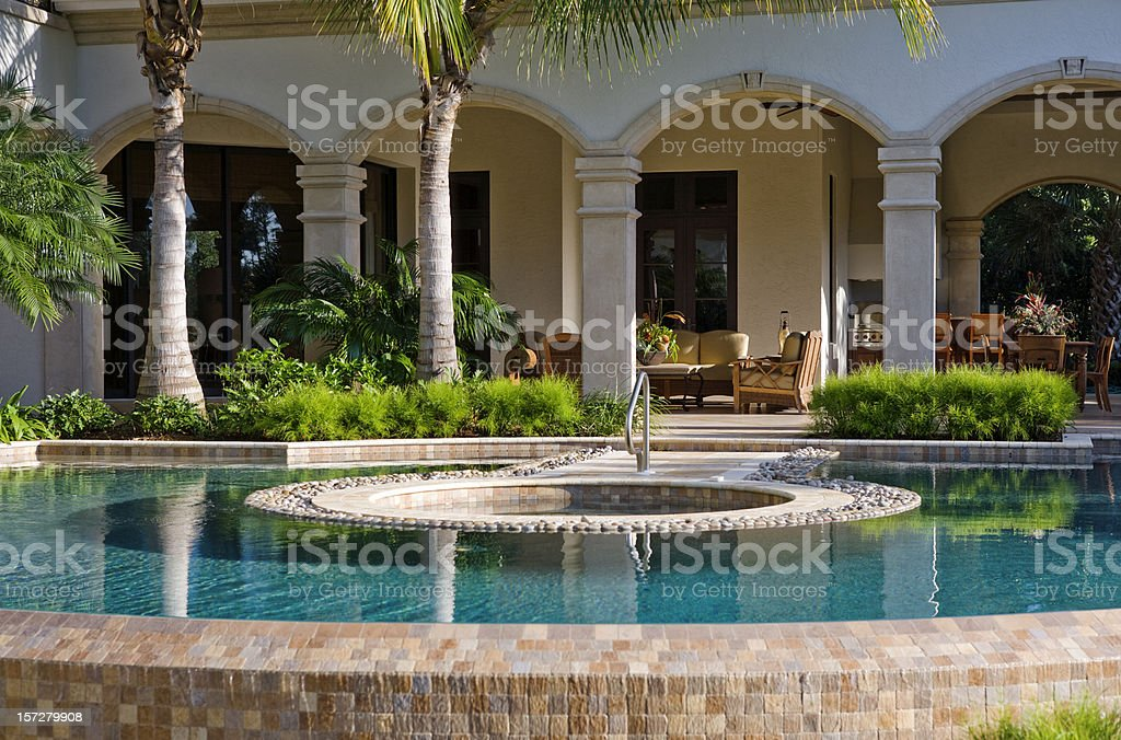 Swimming Pool and Spa at an Estate Home royalty-free stock photo