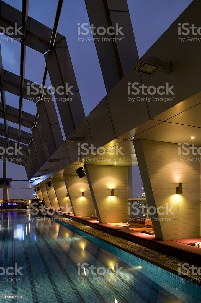 swimming pool architecture dusk royalty-free stock photo
