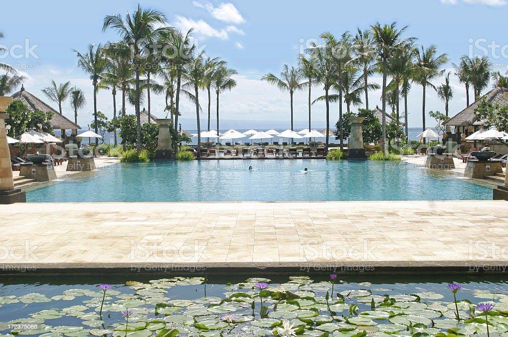 Swimming Pool At A Tropical Resort royalty-free stock photo