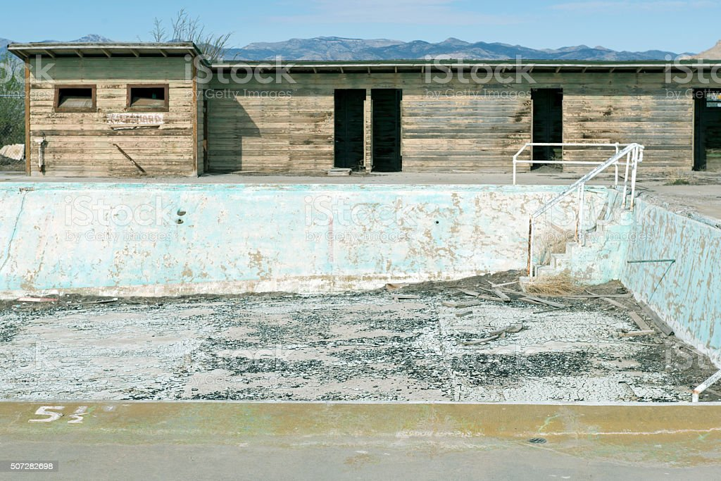 Swimming pool at closed air force base in Utah stock photo