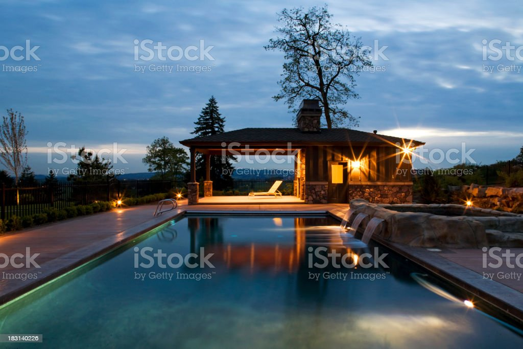 Swimming Pool at Dusk royalty-free stock photo