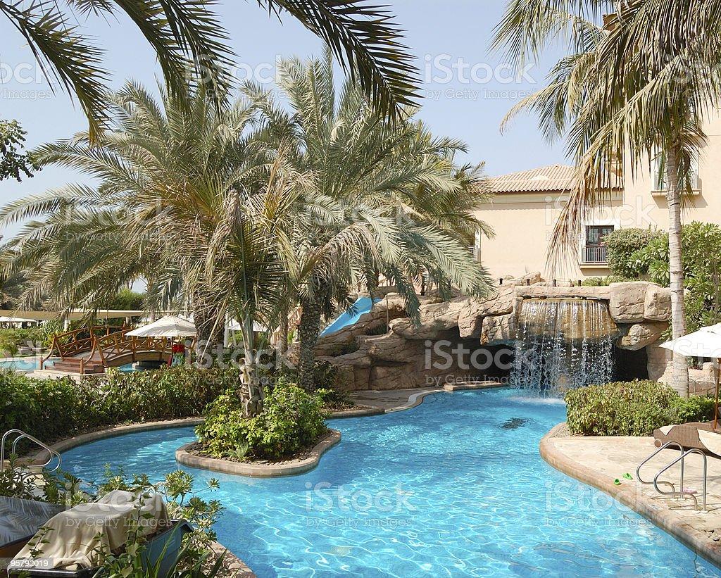 Swimming pool at luxury hotel, UAE royalty-free stock photo