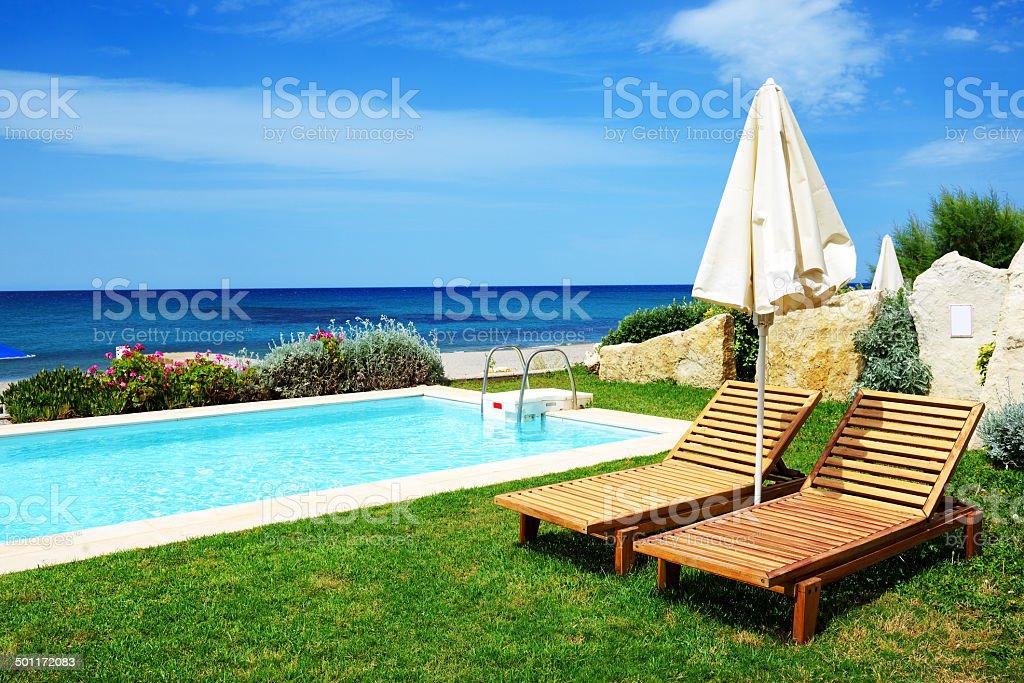 Swimming pool at luxury villa, Crete, Greece stock photo