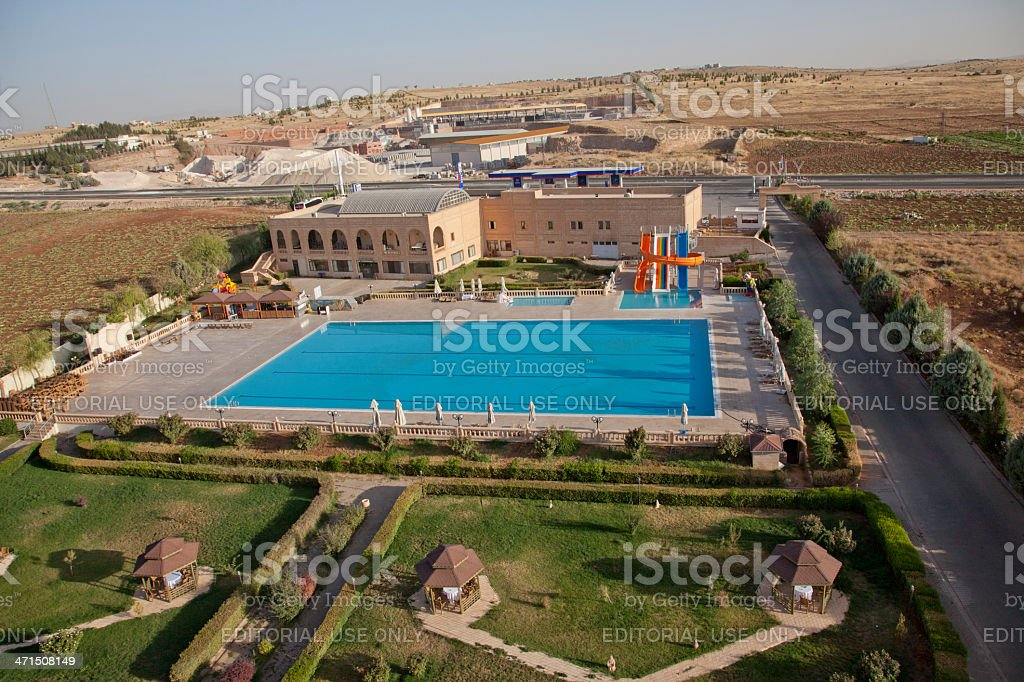 Swimming pool at matiat otel in midyat mardin turkey royalty-free stock photo