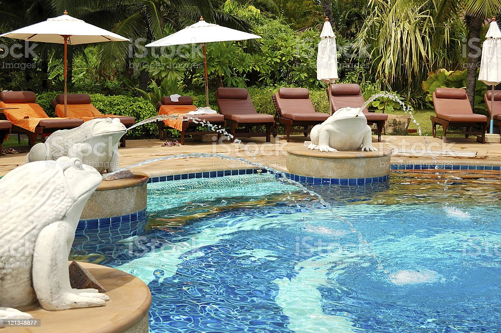 Swimming pool at modern luxury hotel, Samui island, Thailand royalty-free stock photo