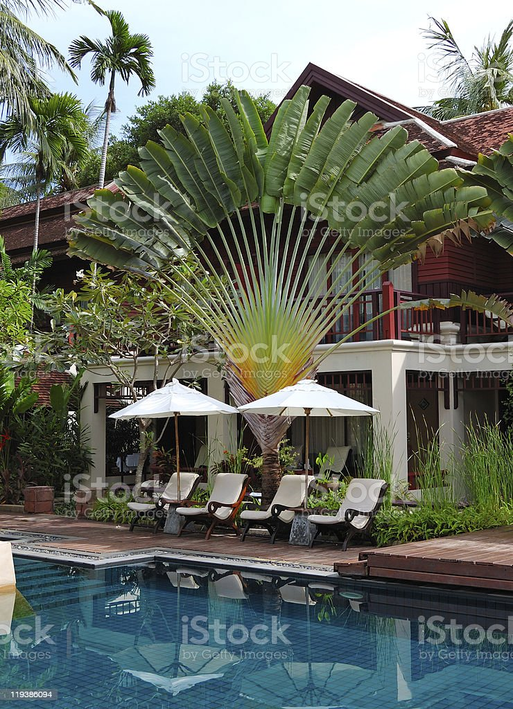 Swimming pool at modern luxury villa, Samui island, Thailand stock photo