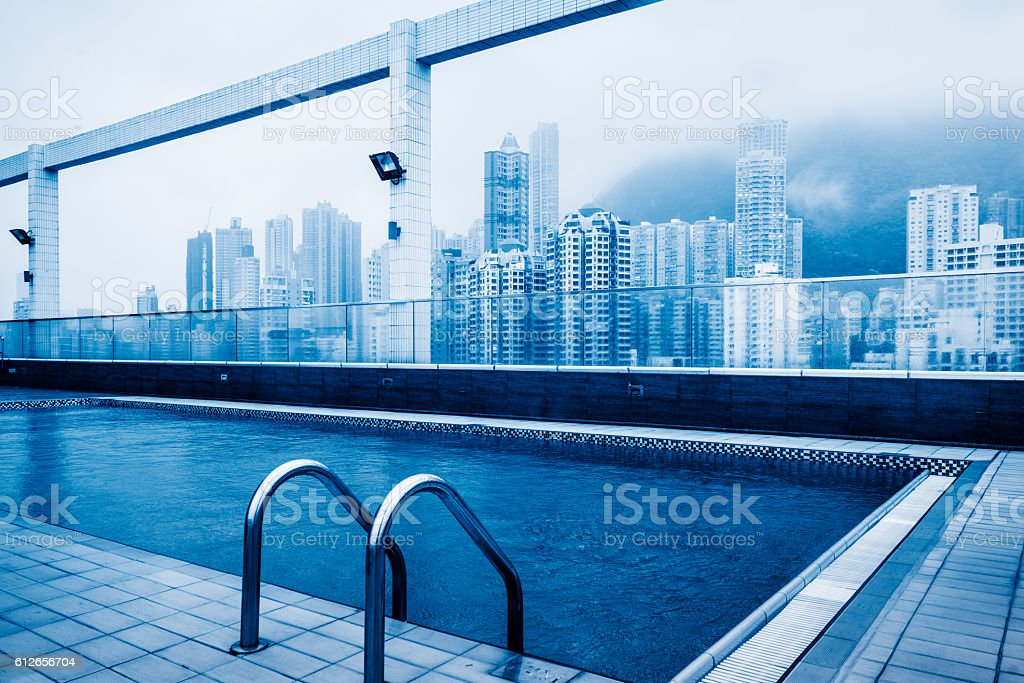 swimming pool at roof stock photo