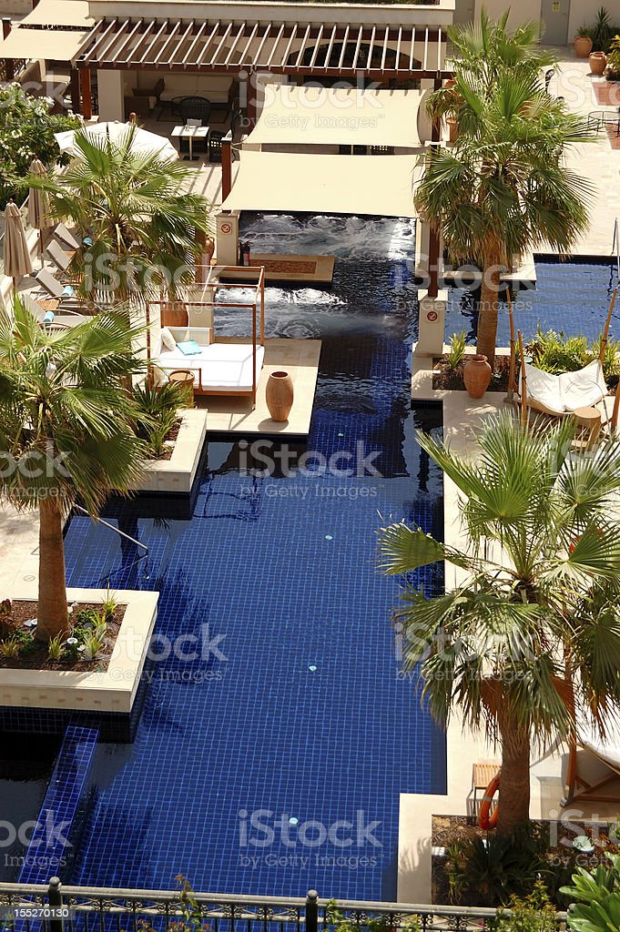 Swimming pool at the luxury hotel, Saadiyat island stock photo