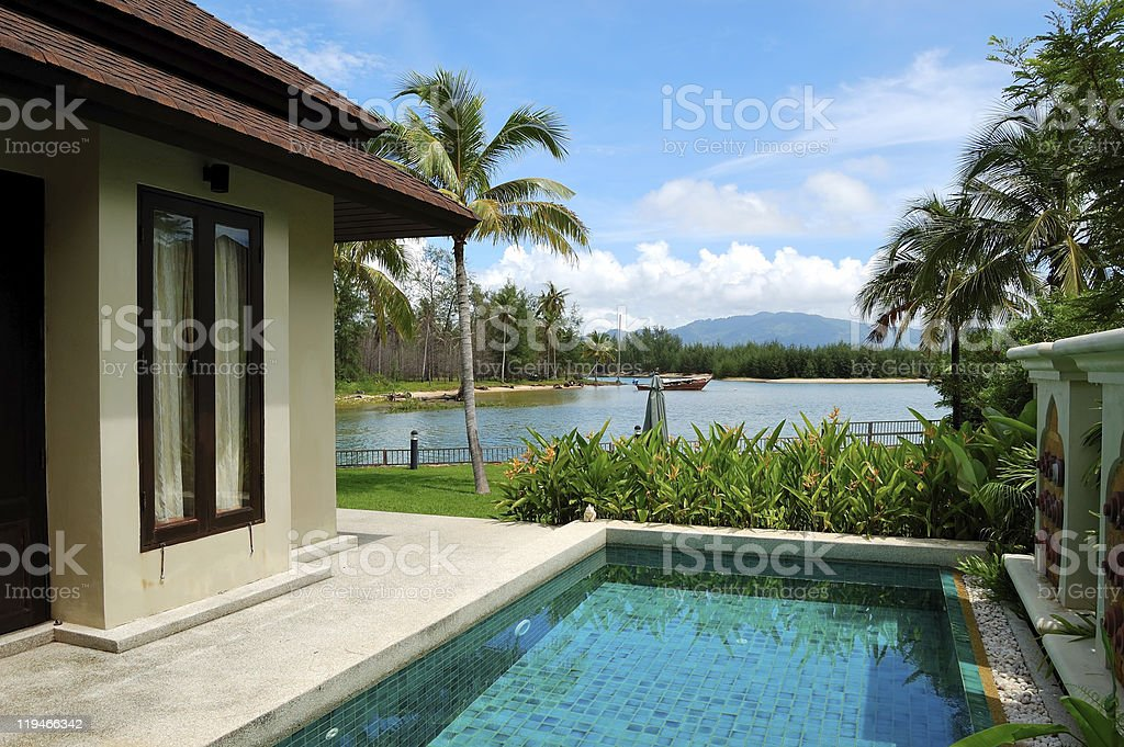 Swimming pool at the luxury villa, Phuket, Thailand royalty-free stock photo
