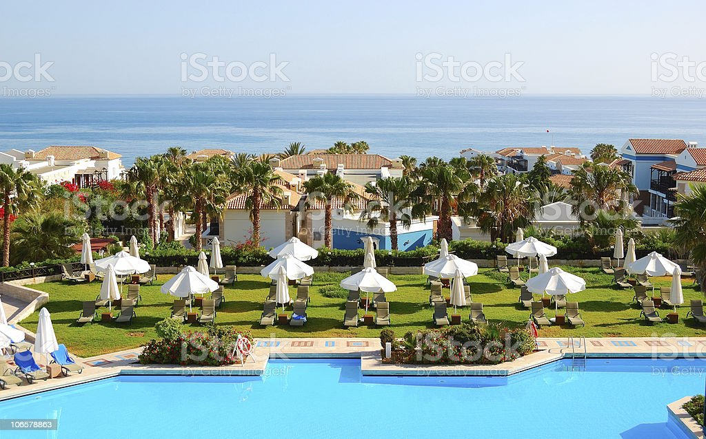 Swimming pool at the modern luxury hotel, Crete, Greece royalty-free stock photo