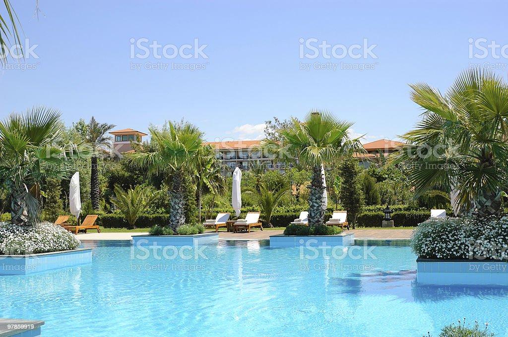 Swimming pool at Turkish hotel, Antalya, Turkey stock photo