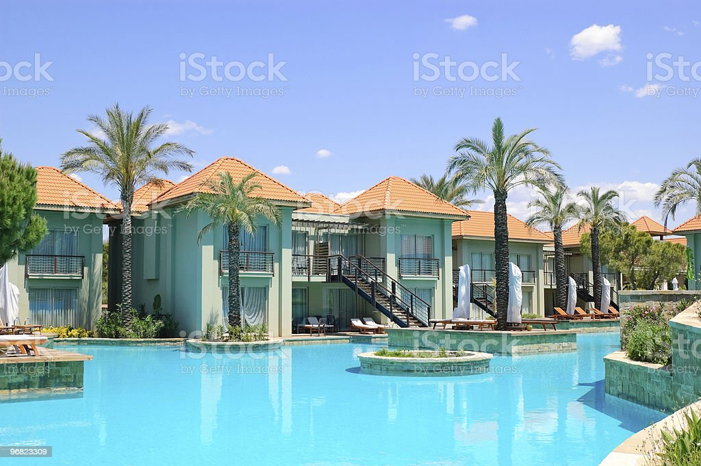 Swimming pool at VIP villas, Antalya, Turkey stock photo