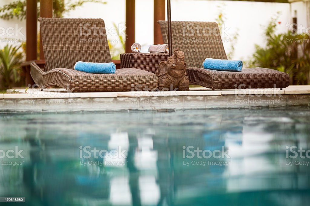 Swimming pool, Bali style stock photo