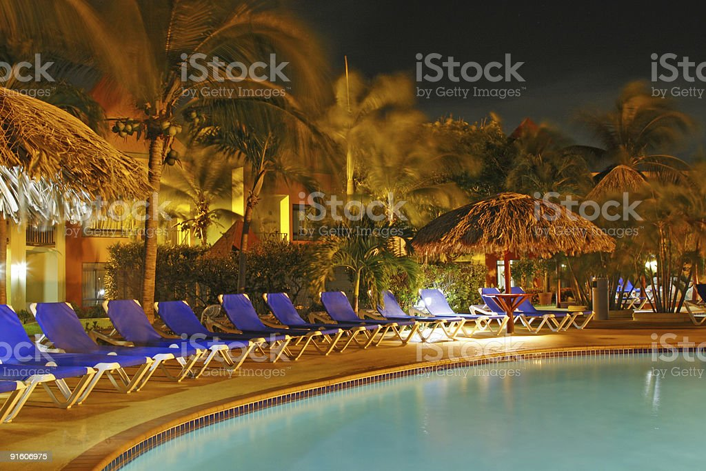 Swimming pool by night royalty-free stock photo