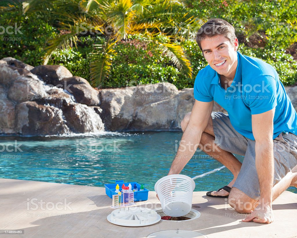 Swimming Pool Cleaning royalty-free stock photo