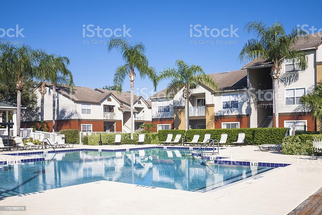 Swimming Pool; Condominiums royalty-free stock photo